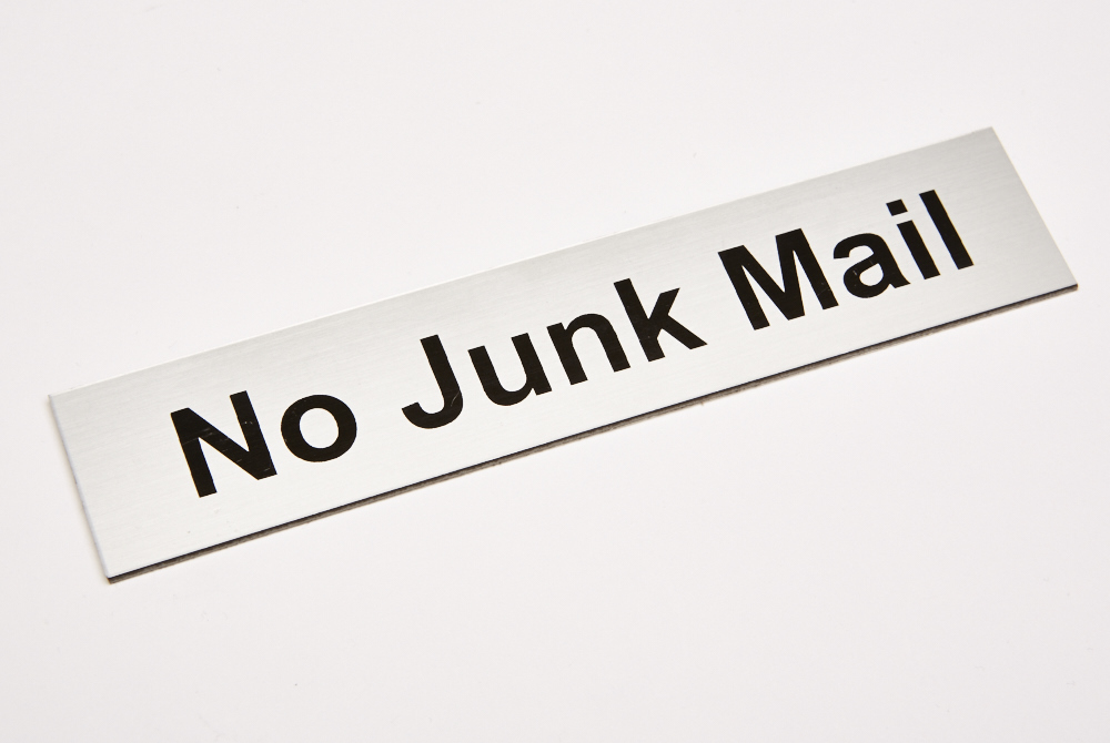 No junk mail; silver